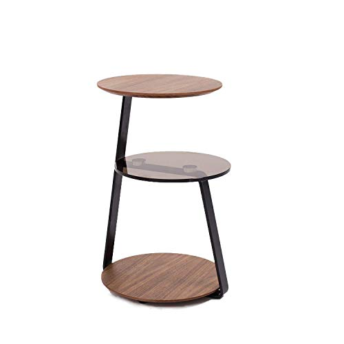 Amazon Brand -Rivet 3-Tier End/Side Table, 39 x 39 x 58cm, MDF with Walnut Veneer/Brown Tempered Glass