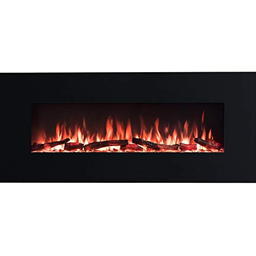PuraFlame Serena 50 Inches Wall Mounted Linear Electric Fireplace, Log Set & Crystal, Adjustable Flame Color and Speed, 750 / 1500W Heater, Remote with Timer