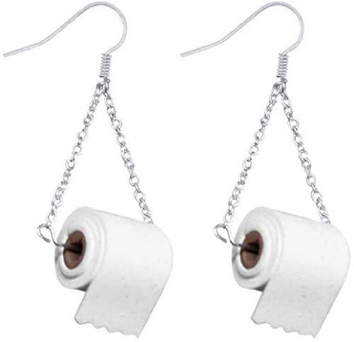 Silber Toilettenpapierrolle Ohrringe Haken Ohr Draht Polymer Clay Handgemacht für Mädchen Frauen Lustiges Geschenk