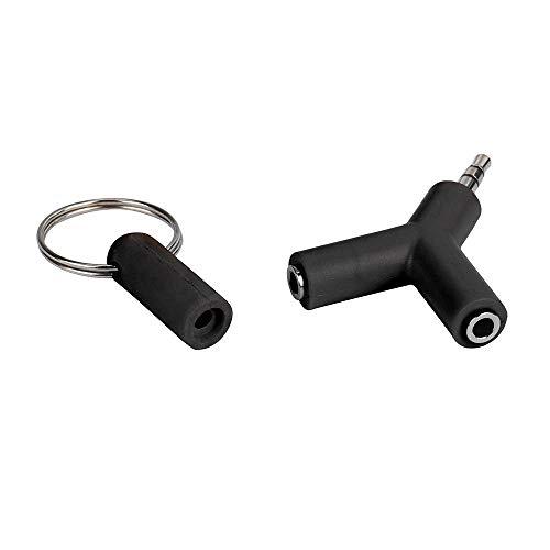 Colorful Audio Adapter 3.5mm Y Adapter, 3,5mm Male auf 2X Female Kopfhörer Doppelstecker für Apple, Samsung, Smartphone (Schwarz)
