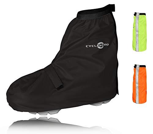 CYCLEHERO Überschuhe Fahrrad (schwarz, 40-43) Regenüberschuh wasserdicht inkl. Reflektor-Streifen, Größenregulierung und Stabiler Lauffläche für Herren und Damen - Regengamaschen Outdoor Unisex