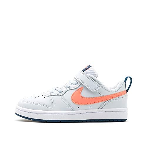 Nike Court Borough Low 2 (PSV), Sneaker Boys, Pure Platinum/Atomic Pink-Valerian Blue, 35 EU