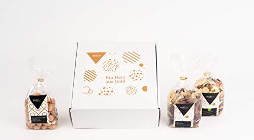"""Jalall D'Or Geschenkbox """"Ein Herz aus Gold"""" Nüsse Trockenfrüchte Schokolade 3 Geschenktüten"""