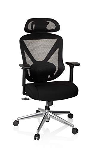hjh OFFICE 738109 Profi Bürostuhl Solution LUX Stoff/Netz Schwarz Chefsessel ergonomisch, breite Sitzfläche, Lordosenstütze