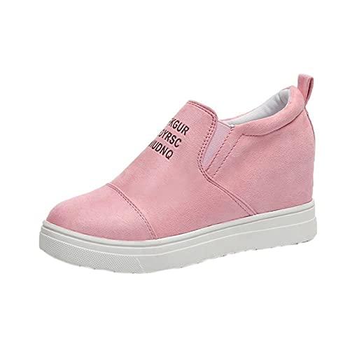 Fitzac Schuhe für Frauen Europäische und Amerikanische Große Größe Slope Absatz Einzelschuhe Kurze Stiefel Nude Stiefel Erhöhte Freizeitschuhe Wanderschuhe, rose, 66