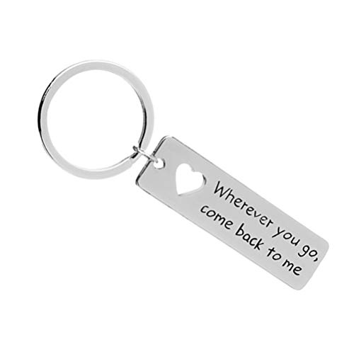 Profusion Circle'Wherever You Go,Come Back to Me Letter Tag Car Key Ring Keychain Boyfriend Husband Lover Gift Silver