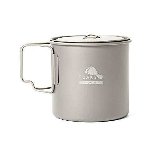 TOAKS Pure Titanium Geschirr im Freien Becher Camping Tasse, große Größe Kann als Topf Verwendet Werden (375 ml, 450 ml, 550 ml, 650 ml, 750 ml, 1100 ml)