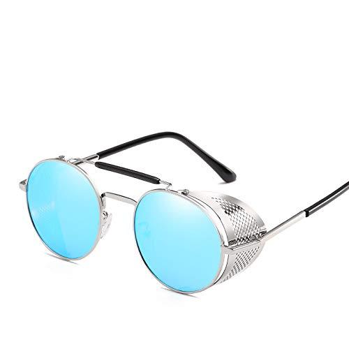 Gafas De Sol Gafas De Sol Steampunk para Hombres Y Mujeres Gafas De Sol Caladas De Moda Gafas De Sol Punk Laterales Plegables Marcos De Metal Ovalados Azul