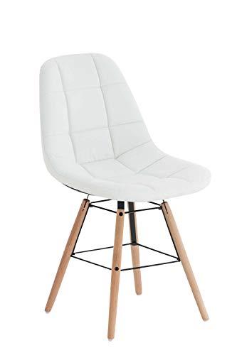 CLP Esszimmerstuhl Tammy mit Kunstlederbezug | Lehnstuhl mit Buchenholzgestell | Polsterstuhl | Sitzhöhe: 47 cm, Farbe:weiß