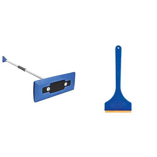 Snow Joe SJBLZD-LED Illum-n-Broom LED Lighted 4-in-1 Snow Broom Plus Ice Scraper,Blue & Edge SJEG01 Ice Scraper with Brass Blade