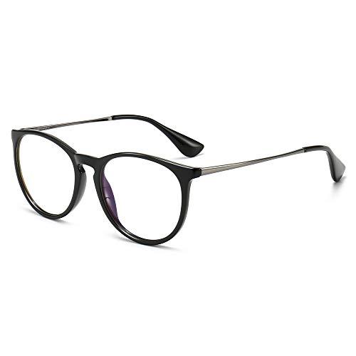 SUNGAIT Gafas de Bloqueo de Luz Azul Retro para Mujer, Estilo Redondo Vintage, Gafas Antidesgaste para Leer / Juegos-SGT567(Marco Negro, Acabado Brillante)