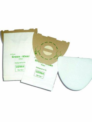 Green Klean 140655405 Advance UZ 964 Hip Vac Kent Euroclean UZ964 Replacement Vacuum Cleaner Bags Includes 2 Micro Filters Per Pack