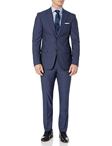 DKNY Men's Slim Fit Soft Suit, Medium Blue Pinstripe, 40L