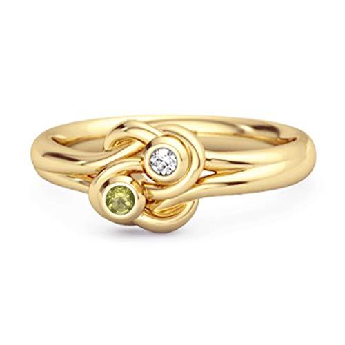 Shine Jewel Elección múltiple Su Anillo de Nudo de Amor Chapado en Oro Amarillo de Piedras Preciosas 0.02 Ctw Anillo de Plata esterlina 925 (11, Peridoto)