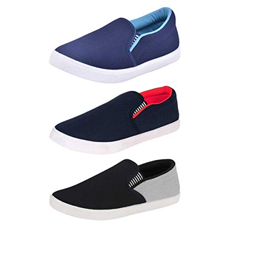 Aircum Combo Pack of 3 Casual Shoes Slip On Sneakers for Men (Multicolor)