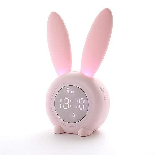 FPRW Elektrische wekker, digitaal, thermometer met datumweergave, nachtlampje, USB, voor kinderkamer, huis, roze