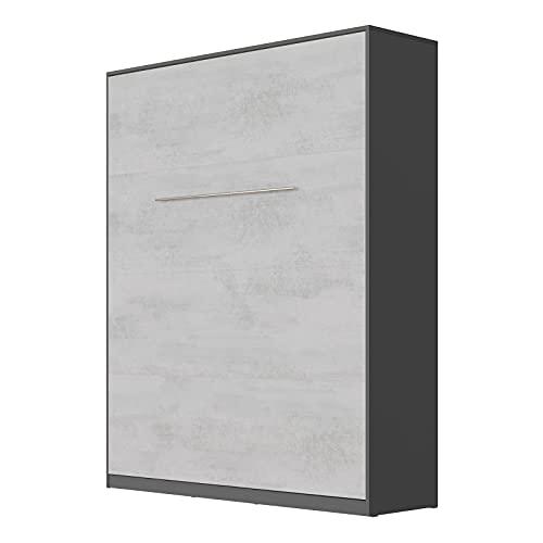 SMARTBett Standard 160x200cm Vertical Antracita/Concreto   Cama Abatible, Cama De Pared, Cama Plegable, Cama Oculta