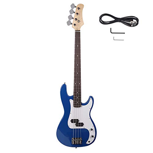 ATERI Full Size Electric Bass Guitar, Right Handed 4-String Electric Bass for Starter Beginner with AMP Wire and Accessories (Blue)