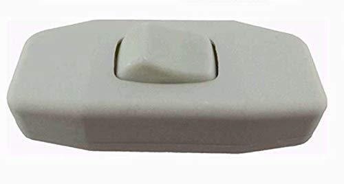Schnur-Zwischenschalter Weiß mit zugentlastungen, 2-polig, 6A 250V, Paßt für LED, SMD (Weiß)