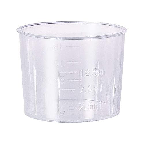 Bettomshin 20 pcs Measuring Cup 15ml Plastic Graduated Beaker Multipurpose Mixing Cups Transparent for Lab Kitchen Liquids