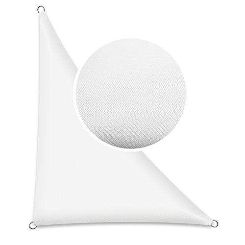 Schramm® Sonnensegel dreieckig in verschiedenen Größen und Farben Sonnenschutz Sichtschutz Windschutz, Farbe:Weiss, Größe:3 m x 3 m x 4.25 m