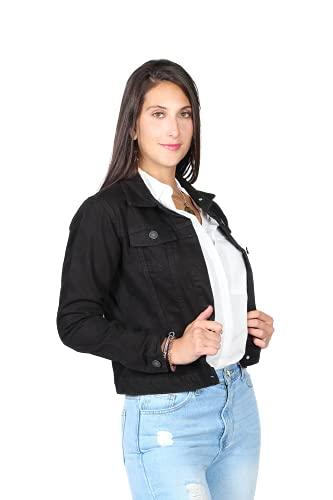 Bobois - Chamarras Mujer Mezclilla Casuales Moda (Negro, Grande)