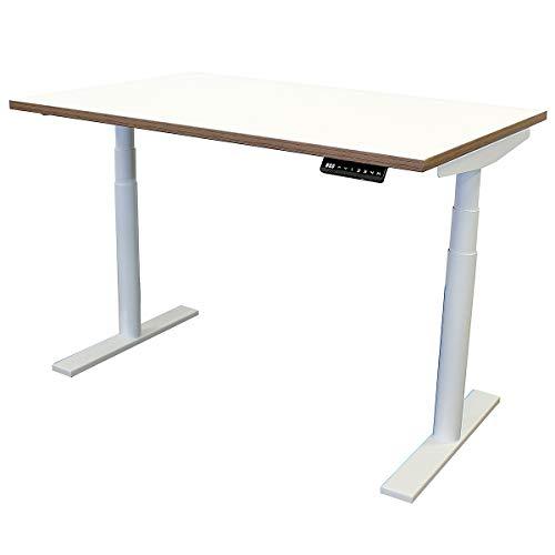 newpo elektrisch ajustable escritorio con tablero de mesa | 120 x 80 cm | blanco|marrón | mesa alta mesa de oficina marco de la mesa