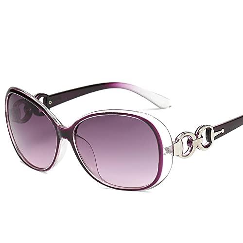 Gafas De Sol Gafas De Sol Vintage para Mujer Gafas De Sol De Diseñador para Mujer Gafas Redondas Gafas De Sol con Montura Grande Morado