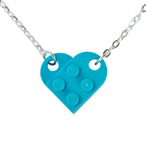 SJP Gemelos de amor corazón collar hecho a mano de placas Lego® (azul claro) Boda, novia, San Valentín, cumpleaños, joyería de regalo para mujer