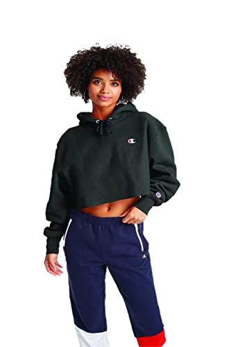 Champion Women's Reverse Weave Cropped Cut Off Hood, black, L