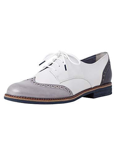 Tamaris 1-1-23207-24, Zapatos de Cordones Derby Mujer, Blanco (White Combi 197), 37 EU