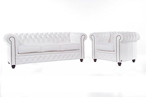 The Chesterfield Brand-Set divani Chester Brighton Bianco-1/3 posti-Pelle vera-Fatto a mano
