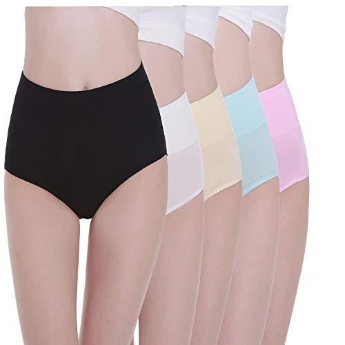 TUUHAW Braguita de Talle Alto Algodón para Mujer Pack de 5 Culotte Bragas de Cintura Alta Cómodo Talla Multicolor-2 M