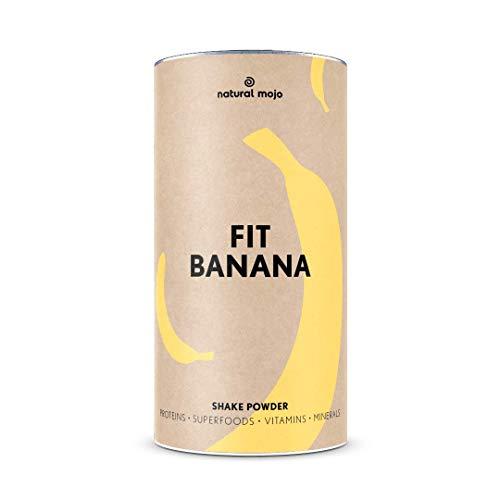 Natural Mojo Fit Banana – Fit Shake (500 g) – Shake mit wertvollen Superfoods – leckerer Drink aus leicht löslichem Eiweißpulver – mit Bananen-Geschmack