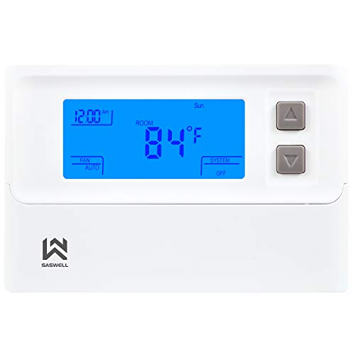 Non-programmable Thermostat, Heat Pump Thermostat 24 Volt with Backlit Digital Display for Room, 2H/1C,Saswell T21HTW-0
