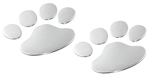 CARSLY 2 x Autoaufkleber und Motorradaufkleber - Sticker, Aufkleber in edlem 3D Chrom-Design, als Tatzen, Pfoten, Klauen wie Hund, Katze, Bär in Silber. Emblem als Autosticker und Motorradsticker
