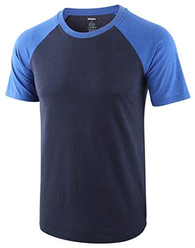 KNQR Men's Casual Short Sleeve Raglan Vintage Tagless Active Baseball T Shirts Navy Blue/Heather Blue L