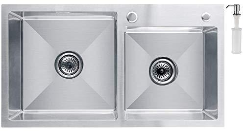 CECIPA Fregadero Cocina dos Senos,78cm*43 cm Incluyendo Dispensador de Jabón, Rebosadero y Juego de Desagüe I Sobre Encimera o Enrasado