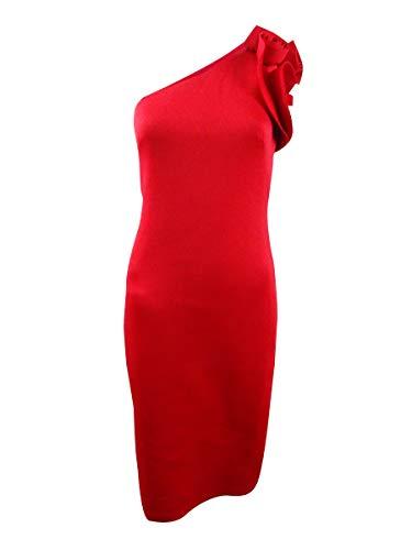 Betsy & Adam Women's Petite One-Shoulder Floral-Applique Dress (12P, Red)
