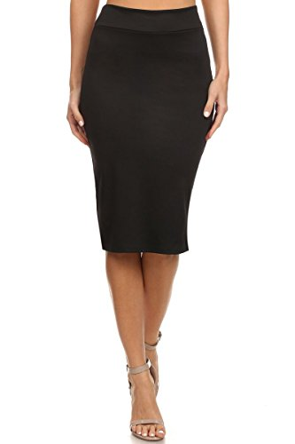 Simlu Women's Below the Knee Pencil Skirt for Office Wear - Made in USA, Black, Medium,Black,Medium