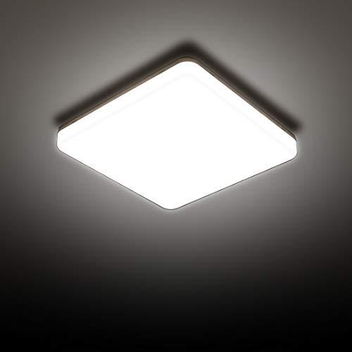 LED Deckenleuchte, SUNZOS 24W 4000K 2160LM Deckenlampe für Schlafzimmer, Küche, Flur, Balkon, Neutralweiß, 180×180×40 mm