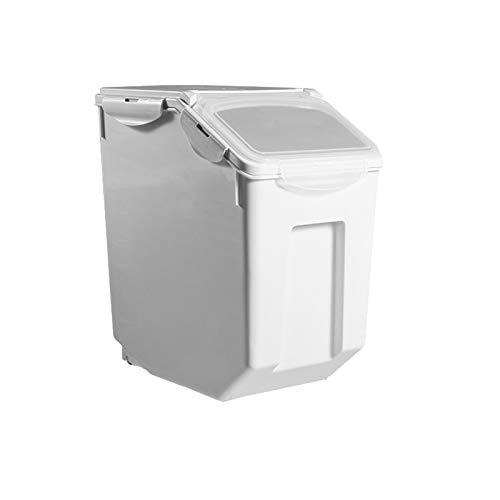 ペット フードストッカー 餌収納 保存容器 密閉 大容量 キャスター付き 米 犬餌 猫餌 ドライフード 収納ボックス 3~5kg/7~10kg 計量カップ付 湿気防止 乾燥 ホワイト 7~10kg