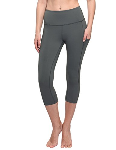 BALEAF Women's Workout Yoga High Waist Capris Pocketed Cropped Leggings 3/4 Exercise Athletic Tights Gray Size M