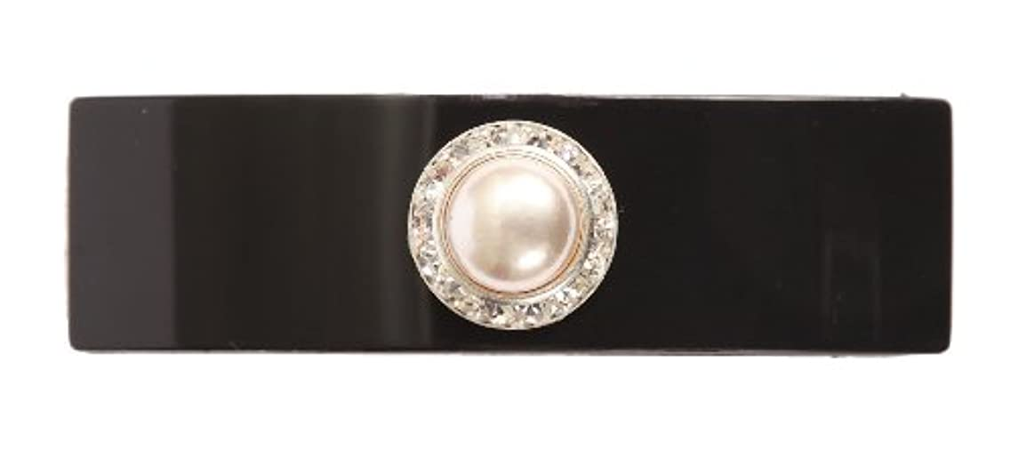 Caravan Hand Decorated French Automatic Barrette with Large Pearl and Swarovski Crystal Stones, Black.65 Ounce