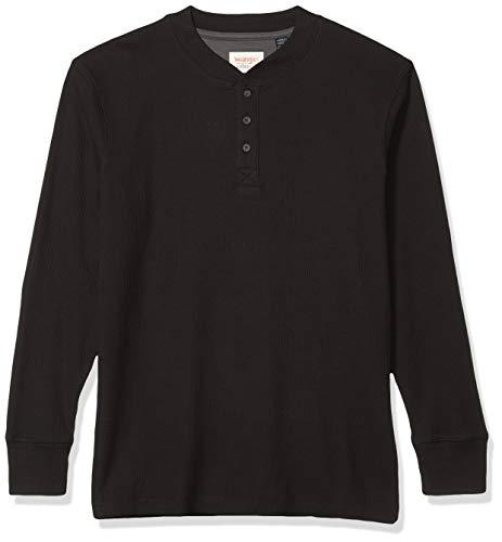 Wrangler Authentics Henley - Camisa de manga larga abotonada de tejido waffle para hombre, Manga larga Waffle Henley, XL, Caviar