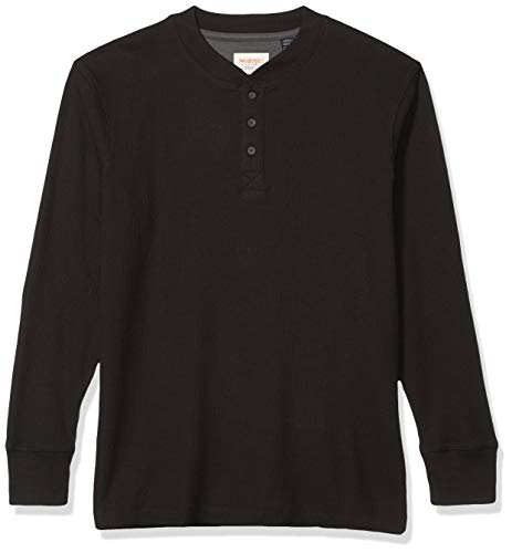 Wrangler Authentics Men's Long Sleeve Waffle Henley, Caviar, XX-Large