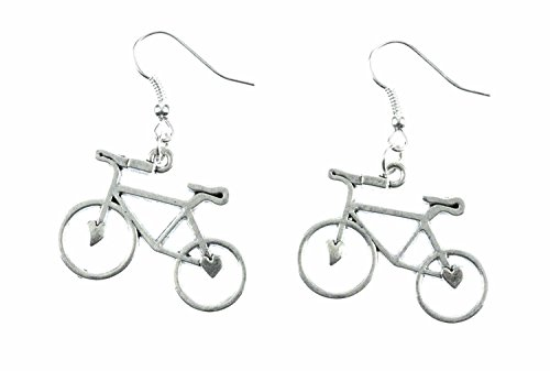 Miniblings Fahrrad Ohrringe Rad Bike Fahrräder Hänger Radtour silber Herz - Handmade Modeschmuck I Ohrhänger Ohrschmuck versilbert