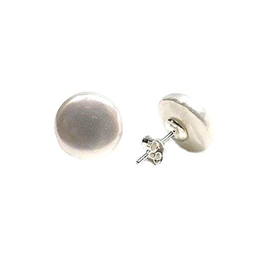 Pendientes plata Ley 925m mujer perla shell coin botón 12mm. plana cierre presión