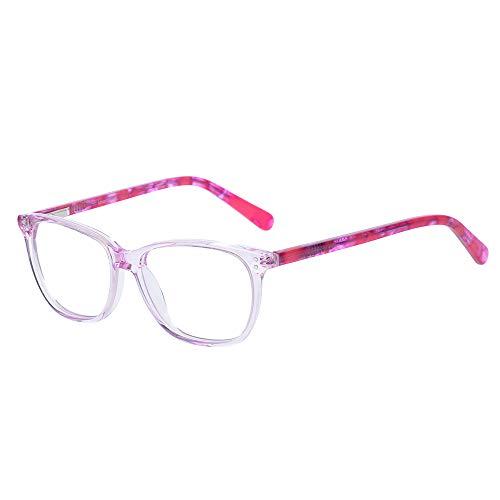 Teens Kinder Kids Brille Teenager Gestell Fassung Brillenrahmen eckig klar Gläser, für Jungen grau rosa Mädchen (Alter 5-12 Jahre) (Wk17070 C1 Pink)