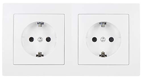MC POWER - FLAIR - Wand Steckdosen Set | Beginner 2S | 3-teilig | weiß, matt